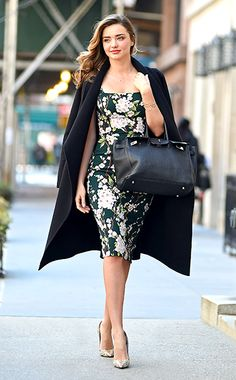 Miranda Kerr in Dolce & Gabbana dress, Escada coat, Hermès bag, Christian Louboutin shoes