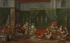 1720-37.Kraamkamer van een voorname Turkse vrouw.Rijksmuseum. In het huis van een welgestelde familie wordt kraambezoek ontvangen.Op het komfoor in het midden wordt koffie gezet en links is een slavin alvast sorbet aan het maken.Na deze versnaperingen krijgt het bezoek rozenwater om de handen mee te wassen uit een sprenkelaar en parfum uit een soort verstuiver.De doeken die aan de muren hangen zijn geschenken van het kraambezoek.Jean Baptiste Vanmour