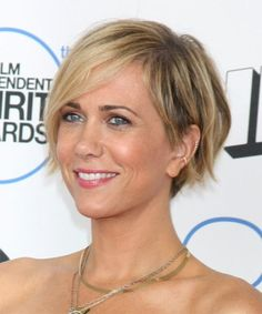 How to Style Kristen Wiig Asymmetric Hairstyle: Blow dry hair. Piece the ends using wax. Style Bangs using moulding cream