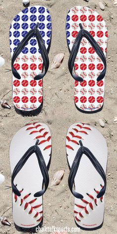 These baseball flip flops are a summer must-have for any baseball player or baseball fan!  Perfect to wear to the beach or pool on a hot summer day! Only from ChalkTalkSPORTS.com!