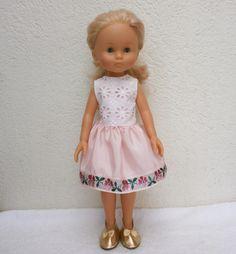 Habits Les Chéries - Robe de fête satin rose et broderie anglaise : Jeux, jouets par mcl-poupees