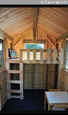 Loft for pallet playhouse #kidsoutdoorplayhouse