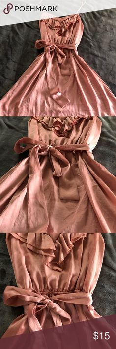 Silky blush dress So cute! So simple! Beautiful trendy blush color! WORN ONCE for a wedding! Wrap belt style, perfect for a little added bow! Monteau Dresses Mini