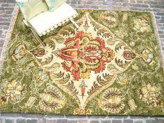 Dollhouse Miniature Rug Mini Carpet Persian Oriental Sage Green Tuscany Home Decor Accessory One Inch Scale. $18.00, via Etsy.