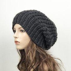 Hand knit woman man unisex hat - Oversized Chunky Wool Hat 23e16364829b