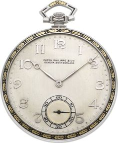 Timepieces:Pocket (post 1900), Patek Philippe Platinum & Enamel Pocket Watch, circa 1920's....