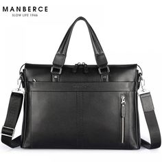 """HOT PRICES FROM ALI - Buy """"New Fashion Genuine Leather Famous Brand men briefcase, inch commercial laptop briefcase, cross-body shoulder bag"""" from category """"Luggage & Bags"""" for only 119 USD. Briefcase Women, Laptop Briefcase, Leather Laptop Bag, Leather Briefcase, Handbags For Men, Messenger Bag Men, Shoulder Handbags, Shoulder Bags, Leather Men"""