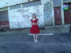 1940s Red Brocade Party Dress with puffed cap by FashionBone, $102.00