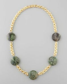 Turpan Jade Coin Necklace, Green by Devon Leigh at Neiman Marcus.
