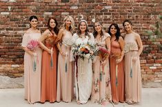 The most beautiful boho bride and bridesmaids! Mix of Rustic Mauve + Dusty Blush 🌿💕 Brides And Bridesmaids, Bridesmaid Dresses, Wedding Dresses, Mumu Wedding, Boho Bride, Fitted Bodice, Mauve, Rustic Wedding, Most Beautiful