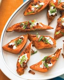 Loaded Sweet Potato Skins. Use Greek yogurt and even top with melted reduced fat cheese!