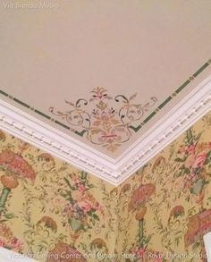 Our Victorian Ceiling Corner Stencils adds a traditional design to light fixtures or complements a European style living room, dining room, or entry. You can also paint your ceiling with these other c