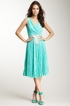 Aurora Belted Lace Pleated Dress on HauteLook
