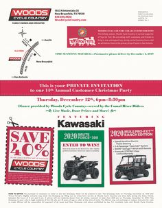 Save the Date -  Thursday, December 12th Woods Cycle Country's 14th Annual Customer Christmas Party  Door prizes, live music, food, and this year's Grand Prize, a 2020 Kawasaki Brute Force 300 ATV!  We are also accepting donations for the San Antonio Toys for Tots program. Please drop off any new and unwrapped toys between now and the party. Your generosity is greatly appreciated!  #WoodsCycleCountry #ToysForTots