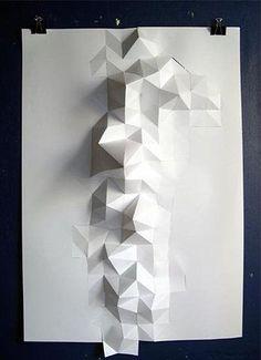Inspirações de padrões e texturas Origami And Geometry, Folding Architecture, Paper Structure, Paper Engineering, Paper Folding, Origami Paper, Geometric Designs, Surface Design, Sculpture Art