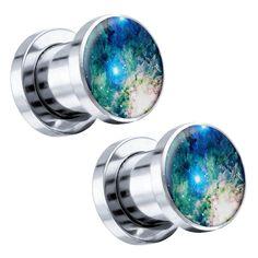 "Blue Cosmic Galaxy Steel Screw-On Custom Plugs 6G - 1"" (25mm) - Pair"