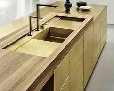 Form 45 // Brass sink kitchen by Multiform