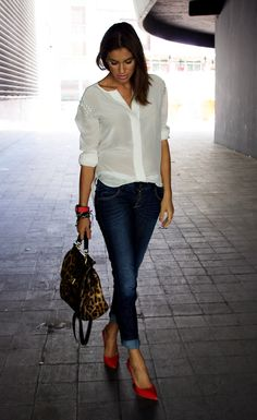 Simple Chic - #womenswear #summer #spring #jeans #whiteshirt #outfit #redshoes