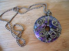 Pyrite Grass Turquoise Pendant Purple Gray Black Donut Bead Wire Wrapped in Gunmetal Parawire