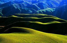 Green Rolling Hills in China.  #China #mountains