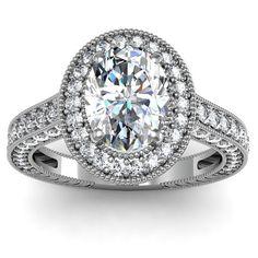bague de fiançailles de diamant or blanc 14kt par EJCOLLECTIONS, $4368.00