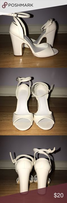 Zara white patent sandals ankle strap pumps sz 6 Cute cute shoes. New without box, have another pair in black! Zara Shoes Sandals