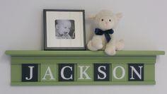 "Navy and Green Nursery Baby Boy Name JACKSON on 30"" Light Green Shelf - 7 Wood Wall Letters. $51.00, via Etsy."