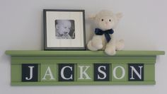 "Navy and Green Nursery Baby Boy Name JACKSON on 30"" Light Green Shelf - 7 Wood Wall Letters. $51.00, via Etsy."