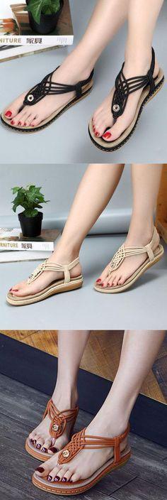 684e205886a437 Large Size Women Summer Knitting Flip Flops Elastic Band Flat Sandals Shoes