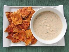 chili lime yogurt dip with salsa pita chips