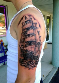 Ship Tattoo Sleeve  by Diane Lange at Moonlight Tattoo Seaville N.J.