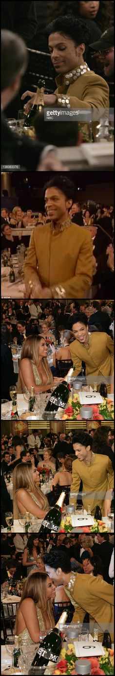 Close acquaintances have said in interviews that Prince had a crush on Beyonce. Prince himself would mention her frequently in interviews. Here they are at the 64th annual Golden Globes Awards. He is adorable in these photos.