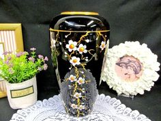 Vintage deep purple glass vase with painted blossoms Vases For Sale, Looks Black, Purple Glass, Vases Decor, Deep Purple, Glass Vase, Blossoms, House Design, This Or That Questions