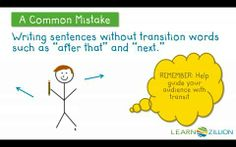 Use temporal transition words in personal narrative