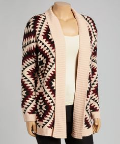 Look what I found on #zulily! Maroon & Black Tribal Open Cardigan - Women by BellaBerry #zulilyfinds