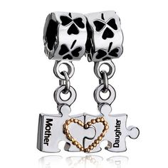 Pugster Dangle Separable Puzzle Mother Daughter Beads Fit Pandora Charm Bracelet Gifts For Mom $12.49 #topseller