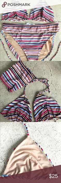 Tommy Hilfiger Striped 2-Piece Swimsuit Size 10? Tommy Hilfiger Striped 2-Piece Swimsuit Size 10? Measurements to be provided. It's either a 10 or 12. Size tag not in suit. Excellent pre-loved condition with triangle top. No padding or structure to top. Cute!  Please don't be shy! Feel free to make a ridiculous offer! I won't be offended. I promise! I might counter, and I just might accept, depending on my ever changing mood! God Bless❣️ Happy Poshing❣️ Tommy Hilfiger Swim