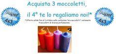 """Eccezionale promozione valida per il solo mese di settembre! Acquista una confezione di """"moccoletti mix"""", 4 candele di diversa profumazione al prezzo di 3!!"""