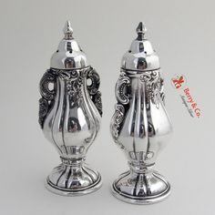 Baroque Salt And Pepper Shakers Wallace Silverplate 1941 Palace Garden, Baroque Pattern, Salt And Pepper Set, Salt Pepper Shakers, Antique Silver, Silver Plate, Berries, Monogram, Stuffed Peppers