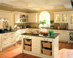 Interesting Country Kitchens medium size of kitchentuscan kitchen accessories kitchen interesting french country kitchen decoration with brown Mesmerizing Kitchen With Rustic White Cabinets And Island And Dark Granite And Brown Wood Countertops Also
