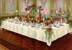 Dinner Table a la Russe. Beeton's Book of Household Management by Isabella Beeton on Ursus Books, Ltd Vintage Table, Vintage Kitchen, Victorian Christmas, Painting Edges, Stretched Canvas Prints, Dinner Table, Vintage Images, Tea Party, Table Settings