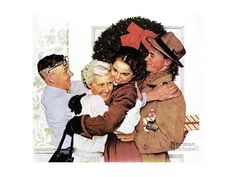 Giclee Print: Home for Christmas by Norman Rockwell : 16x12in