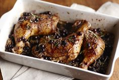 Usually blueberries are used in desserts, but they taste delicious in savory meals. Like this Blueberry Balsamic Glazed Rosemary Chicken. | Safeway
