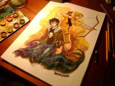 Solangelo watercolor wholy shit just like how even! i suck at colouring like how can you get this so perfect mother fucker omgs im like omg faboying here! good job dude like WOAH!