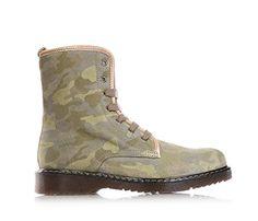 TWIN-SET - Grüne Tarnung Stiefel mit Schnürsenkel, aus Leder, seitlich ein Reißverschluss, hinten Goldherzchen, sichtbare Nähte und Gummisohle. Mädchen, Kind,Damen - http://on-line-kaufen.de/twin-set/twin-set-gruene-tarnung-stiefel-mit-aus-leder-ein
