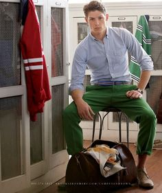 For the cheapest Mens Fashion, come to kpopcity.net!! Got it. Green pants, blue oxford, red cardigan. #men #style #fashion