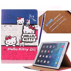 Dakotacase Soft Stand Case for iPad (Book style) Cute Hello Kitty Flip Wallet PU Leather Case With Credit Card ID Slots Protective Case Cover For Apple iPad iPad 6 Free Gift Stylus in Random Color (KT Cat Ipad Air 2 Cases, Ipad Case, Leather Case, Pu Leather, Stylus, Apple Ipad, Protective Cases, Free Gifts, Hello Kitty