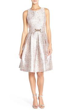 1f72ef31c68 Eliza J Embellished Metallic Jacquard Fit   Flare Dress (Regular   Petite)  Petite Formal