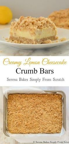 Creamy Lemon Crumb Bars meets Cheesecake to make the ultimate dessert. Click through for recipe!
