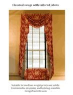 historical draperies, DesignNashville.com  this is a colonial (neoclassical) proportioned swag and jabot treatment ideal for windows approximately 30x65. Message us for assistance with draperies.